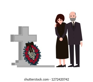 Sad man and woman dressed in mourning clothes standing near grave with tombstone and wreath. Grieving people or relatives on graveyard or cemetery. Colorful vector illustration in flat cartoon style.