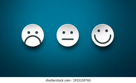 Sad, Neutral and Happy Paper Cut Faces on Blue Background - Vector Feedback Icons