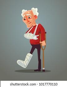 Sad old man broke his leg. Vector flat cartoon illustration