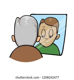 Sad old man looking at younger himself in the mirror. Colorful flat vector illustration. Isolated on white background.