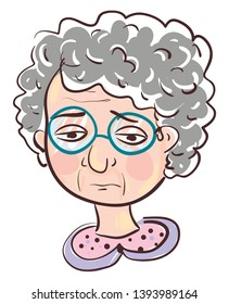 Sad old woman illustration vector on white background