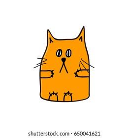 Sad orange cat. Vector illustration.