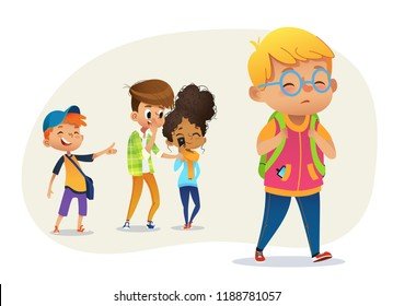 Sad overweight boy wearing glasses going through school. School boys and gill laughing and pointing at the obese boy. Body shaming, fat shaming. Bulling at school. Vector illustration.