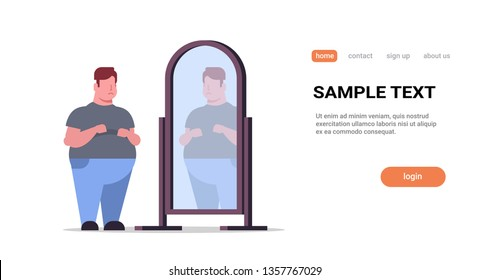 sad overweight man looking at himself reflection in mirror big unhappy guy over size obesity concept flat full length horizontal copy space white background