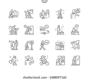 Sad people go to work Well-crafted Pixel Perfect Vector Thin Line Icons 30 2x Grid for Web Graphics and Apps. Simple Minimal Pictogram
