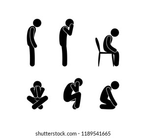 sad people stand and sit, illustration of depression, stick figure man symbol, pictogram human silhouette