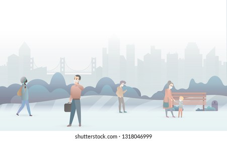 Sad people suffer from air pollution and wear protective masks. Industrial white smog fog city background. Fine dust, air pollution, pollutant gas emission, industrial smog vector illustration