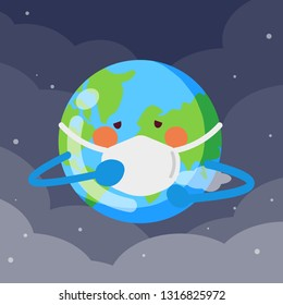 Sad planet earth wearing protective face masks . Environmental pollution concept. Fine dust, air pollution, industrial smog, pollutant gas emission. Vector illustration
