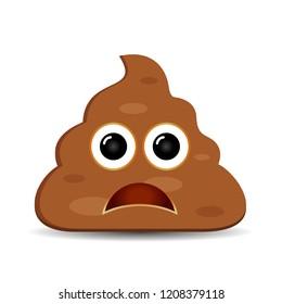 Sad poop emoji vector illustration isolated on white background