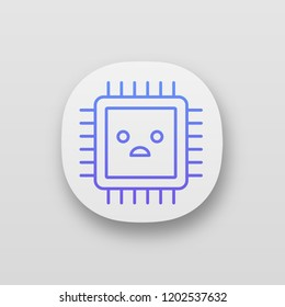 Sad processor app icon. Bad CPU. Microprocessor failure. Central processing unit problems. Integrated circuit. UI/UX interface. Web or mobile application. Vector isolated illustration