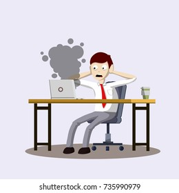 Sad scared office worker sits at a Desk with a broken computer laptop with smoke - Cartoon flat illustration