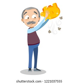 Sad senior man shaking empty gold piggy bank. Wealth or bankruptcy in old age. Pension fund and banking vector illustration. Retirement in poverty perspective. Old man personage without money.