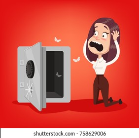 Sad shocked rich business woman character stand near open door safe empty box. No money financial crisis concept. Vector flat cartoon illustration