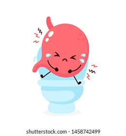 Sad sick cry cute stomach sitting sitting on toilet. Diarrhea problem. Vector flat cartoon kawaii illustration icon design. Isolated on white backgound. Stomach,stomachache, pain,sick,ache concept