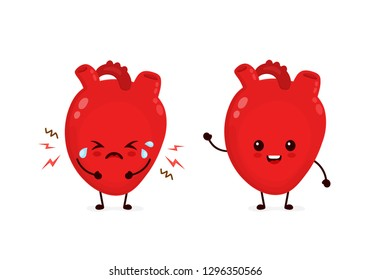 Sad sick unhealthy cry and healthy strong happy smiling cute heart character. Vector flat cartoon kawaii illustration icon design. Isolated on white backgound. Heart attack, pain,sick,ache concept