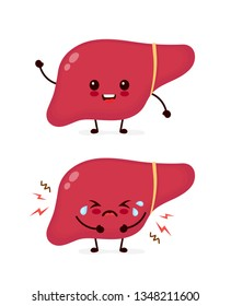 Sad sick unhealthy cry and healthy strong happy smiling cute liver character. Vector flat cartoon kawaii illustration icon design. Isolated on white backgound. Sick liver,ache,pain concept