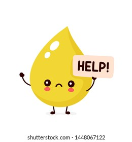 Sad sick urine drop asks for help character. Vector flat cartoon illustration icon design. Isolated on white backgound