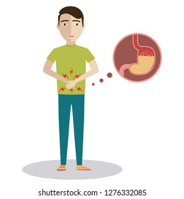 Sad sick young man with food poisoning stomach character. Vector flat cartoon illustration icon design. Isolated on white background. Digestive tract, stomach, stomachache, pain,sick,ache concept