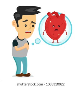 Sad sick young man with heart disease problem character. Vector flat cartoon illustration icon design. Isolated on white backgound. Heart pain,sick,ache concept
