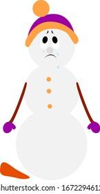 Sad snowman, illustration, vector on white background.