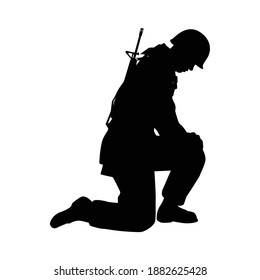 Sad soldier silhouette vector, military concept.