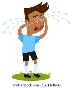 Sad South American cartoon football outfield player crying many tears standing on green isolated on white background, funny vector illustration