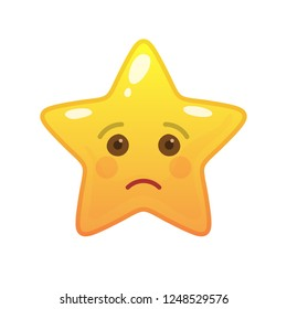 Sad star shaped comic emoticon. Tragic face with facial expression. Sorrowful emoji symbol for internet chatting. Funny social communication animated character. Mood message isolated vector element