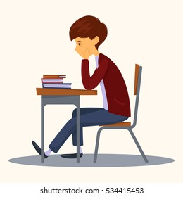 Sad student sitting in class. Books next to him. Vector cartoon illustration. Character