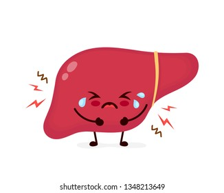 Sad suffering cry sick cute liver character pain disease face.Vector flat cartoon kawaii illustration icon design.Isolated on white backgound.Unhealthy sad liver,pain,disease,fatty,hepatitis concept