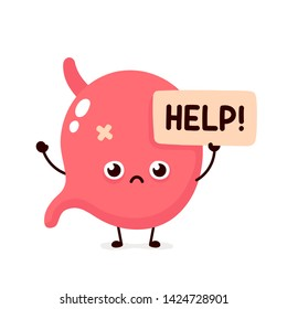 Sad suffering sick cute human stomach  organ asks for help character. Vector flat cartoon illustration icon design. Isolated on white backgound. Suffering unhealthy stomach character concept