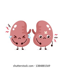 Sad suffering sick cute kidneys character. Vector flat cartoon illustration icon design. Isolated on white backgound. Suffering cry couple of human kidneys character concept