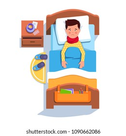 Sad suffering sick patient boy lying in hospital bed recovering from sore throat inflammation. Flu fever ill teen kid feeling unwell laying under blanket. Top view flat vector character illustration