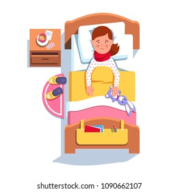 Sad suffering sick patient girl lying in hospital bed recovering from sore throat inflammation. Flu fever ill teen kid feeling unwell laying under blanket. Top view flat vector character illustration