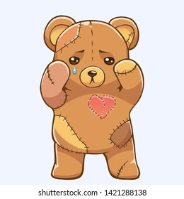 Sad teddy bear with patches and stitches. Vector illustration of toy bear crying with broken heart