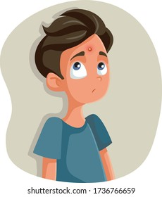 Sad Teenage Boy Having a Pimple Vector Cartoon. Insecure teen feeling unhappy about acne problems