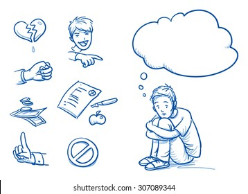 Sad teenage boy having problems, with thought bubble and icons. Hand drawn cartoon doodle vector illustration.