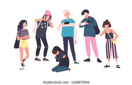 Sad teenage boy sitting on floor surrounded by classmates mocking him, scoffing, taking photos on smartphones. Problem of mockery and bullying at school. Flat cartoon colorful vector illustration
