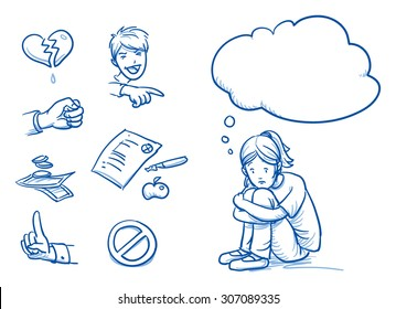 Sad teenage girl having problems, with thought bubble and icons. Hand drawn cartoon doodle vector illustration.