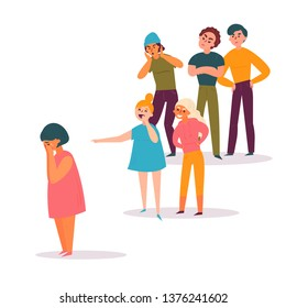 Sad teenage girl surrounded by classmates, both boys and gitls, mocking her, scoffing, pointing fingers and laughing. Problem of mockery and bullying at school. Flat cartoon colorful vector
