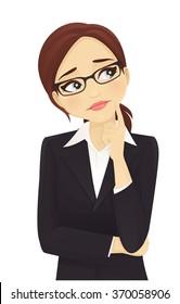 Sad thinking businesswoman looking up