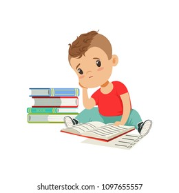 Sad tired boy sitting on the floor with a big pile of books vector Illustration on a white background