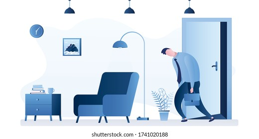 Sad and tired employee returns home from work. White collar after job, apartment interior with furniture. Male character in trendy style. Unhappy businessman alone. Flat Vector illustration