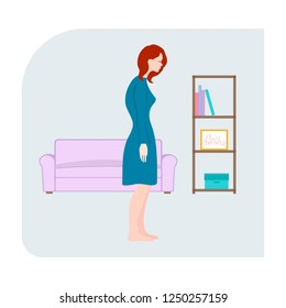 Sad tired girl closed eyes. Slouching girl standing in the room. Simple flat vector illustration