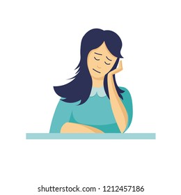 Sad, tired or waiting for something girl in flat style. Bored sleepy young woman. Depression. Vector illustration.