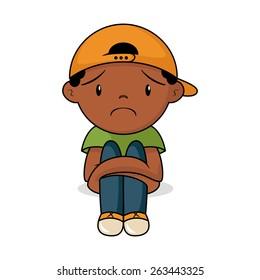 Sad toddler, vector illustration