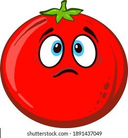 Sad tomatoe , illustration, vector on white background