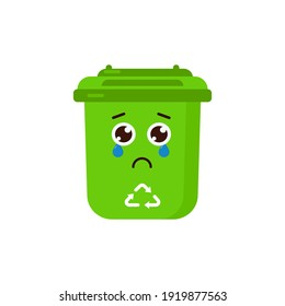 Sad Trash Bin Character Cause Do not Use Icon, Logo, and illustration Vector