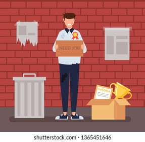 Sad unemployed homeless poor jobless man student professional worker trying to find job. Social economic education issue concept. Vector flat cartoon graphic design illustration