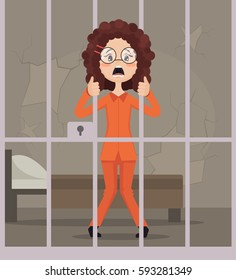 Sad unhappy crying prisoner woman character in jail. Vector flat cartoon illustration