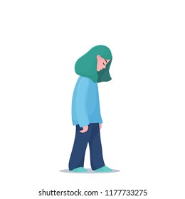 Sad, unhappy, depressed teenage girl, young woman walking slowly alone, depression concept, flat vector illustration isolated on white background. Depressed, unhappy girl, woman walking slowly alone